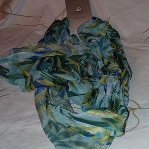 Big Buddha blue green floral leaf infinity scarf